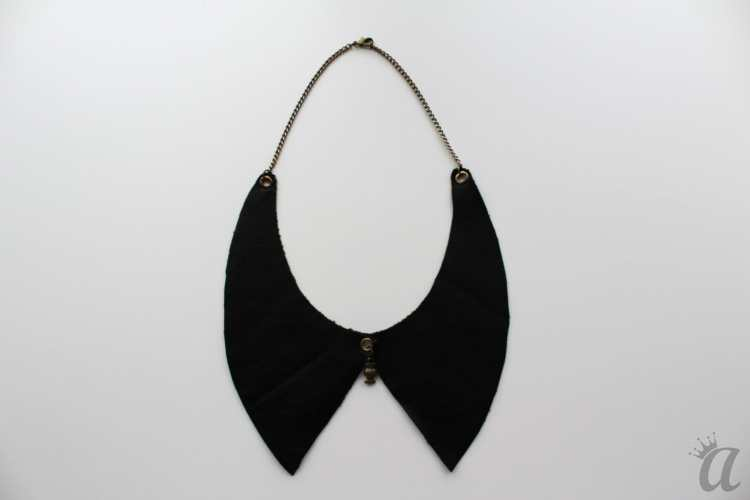 black leather necklace with candy pandant