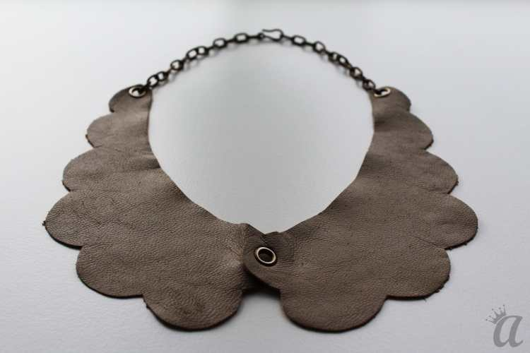 gray leather necklace (detail)