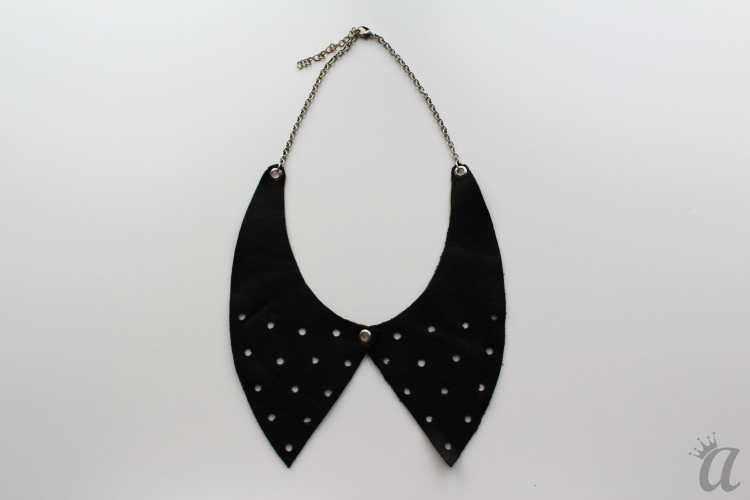 perforated black leather necklace
