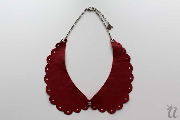 perforated red leather necklace