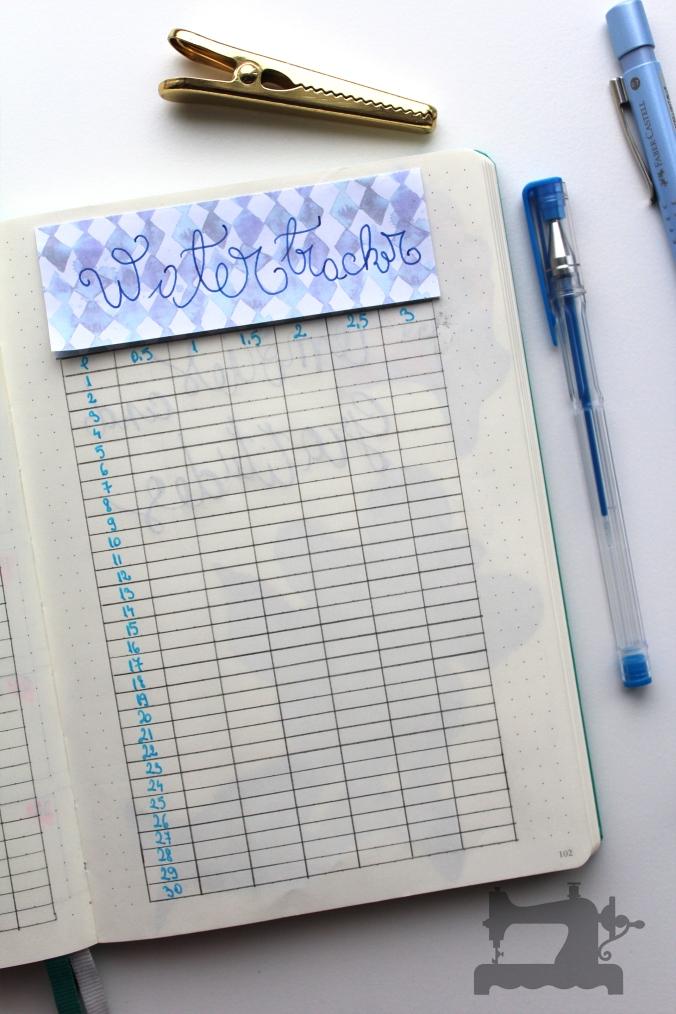 water tracker for bullet journal