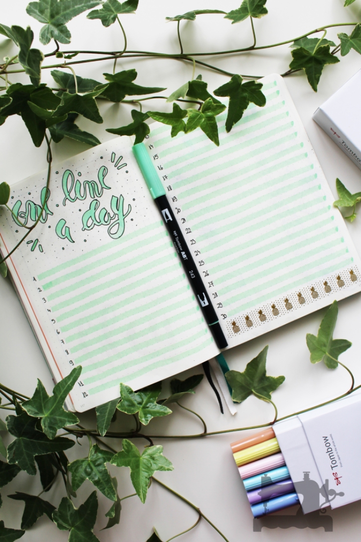 bullet journal page ideas, bullet journal weekly spread, one line a day bullet journal