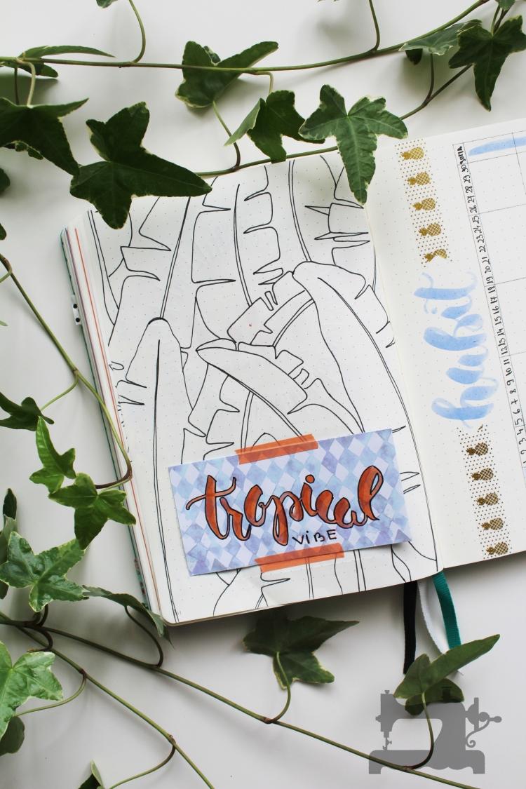 tropical theme bullet journal