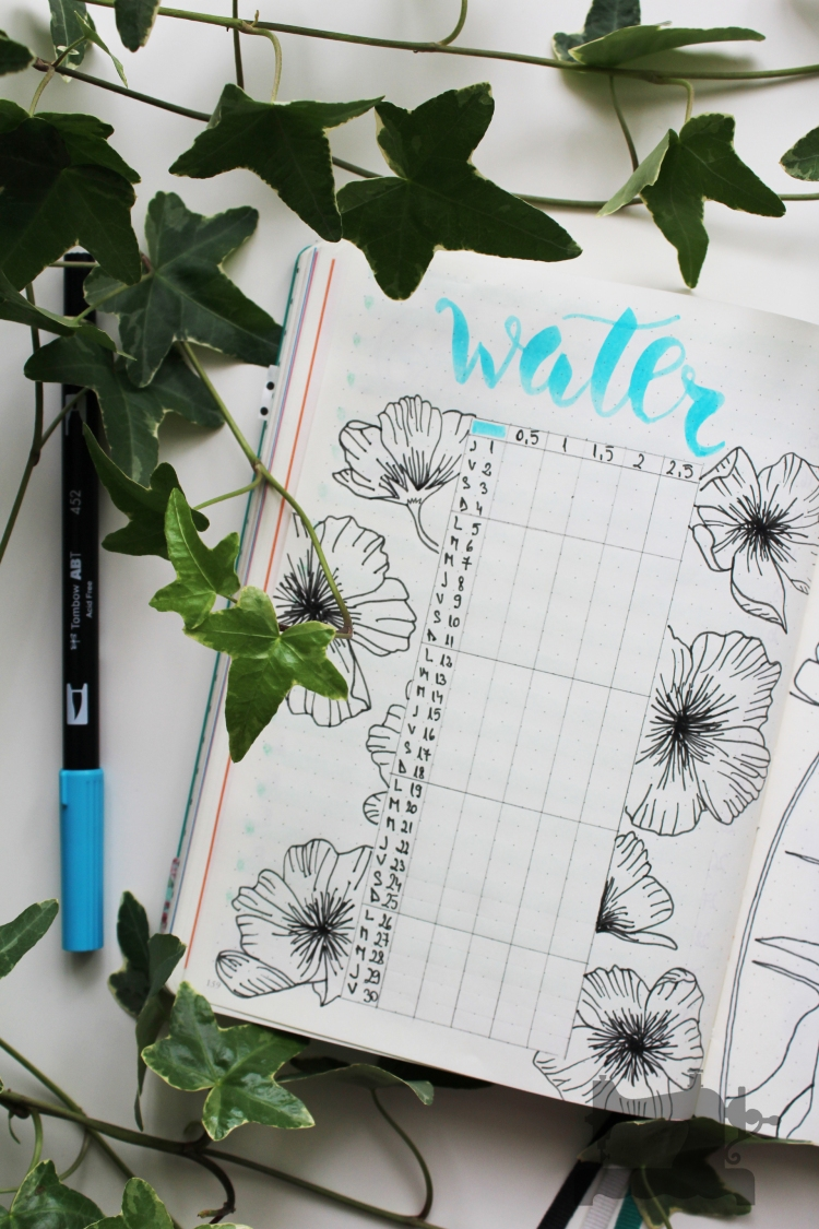 water tracker bulletjournal